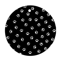 Footprints Cat White Black Ornament (round) by EDDArt