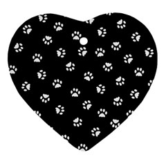 Footprints Cat White Black Ornament (heart) by EDDArt