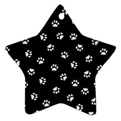 Footprints Cat White Black Ornament (star) by EDDArt