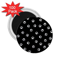 Footprints Cat White Black 2 25  Magnets (100 Pack)  by EDDArt