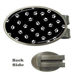 Footprints Cat White Black Money Clips (oval)  by EDDArt