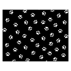 Footprints Cat White Black Rectangular Jigsaw Puzzl by EDDArt