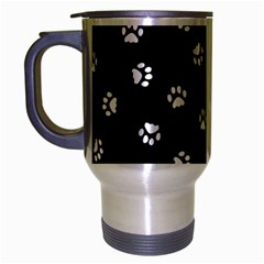 Footprints Cat White Black Travel Mug (silver Gray) by EDDArt