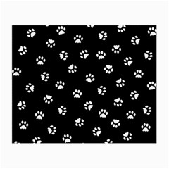 Footprints Cat White Black Small Glasses Cloth by EDDArt