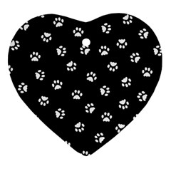 Footprints Cat White Black Heart Ornament (two Sides) by EDDArt