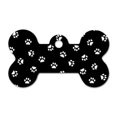 Footprints Cat White Black Dog Tag Bone (two Sides) by EDDArt