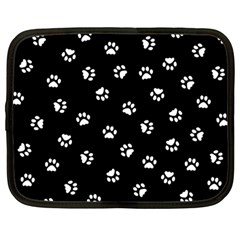Footprints Cat White Black Netbook Case (large) by EDDArt