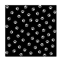 Footprints Cat White Black Face Towel by EDDArt