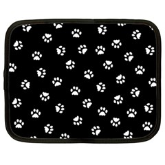 Footprints Cat White Black Netbook Case (xl)  by EDDArt