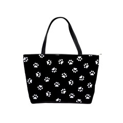 Footprints Cat White Black Shoulder Handbags by EDDArt