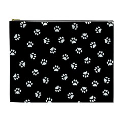 Footprints Cat White Black Cosmetic Bag (xl) by EDDArt
