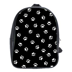 Footprints Cat White Black School Bags(large)  by EDDArt