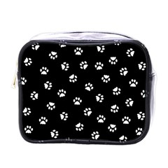 Footprints Cat White Black Mini Toiletries Bags by EDDArt