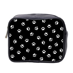 Footprints Cat White Black Mini Toiletries Bag 2 Side by EDDArt
