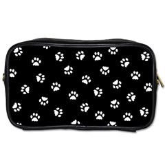 Footprints Cat White Black Toiletries Bags by EDDArt