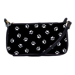 Footprints Cat White Black Shoulder Clutch Bags by EDDArt