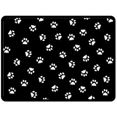 Footprints Cat White Black Fleece Blanket (large)  by EDDArt