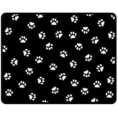 Footprints Cat White Black Fleece Blanket (medium)  by EDDArt