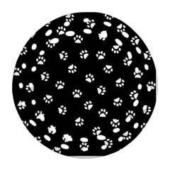 Footprints Cat White Black Round Filigree Ornament (two Sides) by EDDArt