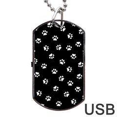 Footprints Cat White Black Dog Tag Usb Flash (two Sides) by EDDArt