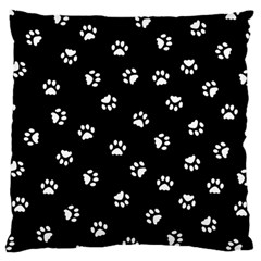Footprints Cat White Black Large Cushion Case (one Side) by EDDArt
