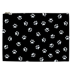 Footprints Cat White Black Cosmetic Bag (xxl)  by EDDArt