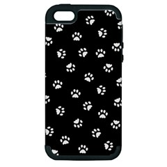 Footprints Cat White Black Apple Iphone 5 Hardshell Case (pc+silicone) by EDDArt