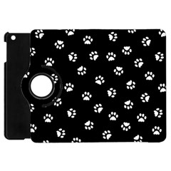 Footprints Cat White Black Apple Ipad Mini Flip 360 Case by EDDArt