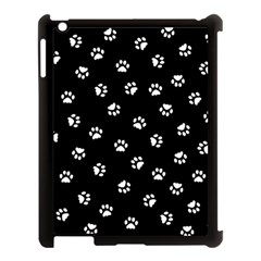 Footprints Cat White Black Apple Ipad 3/4 Case (black) by EDDArt