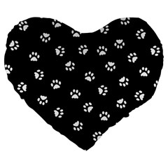 Footprints Cat White Black Large 19  Premium Heart Shape Cushions by EDDArt