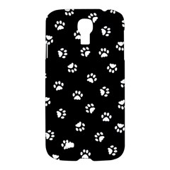 Footprints Cat White Black Samsung Galaxy S4 I9500/i9505 Hardshell Case by EDDArt