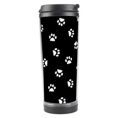 Footprints Cat White Black Travel Tumbler by EDDArt