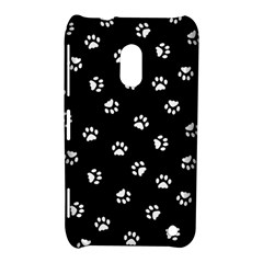 Footprints Cat White Black Nokia Lumia 620 by EDDArt