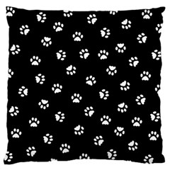 Footprints Cat White Black Large Flano Cushion Case (two Sides) by EDDArt