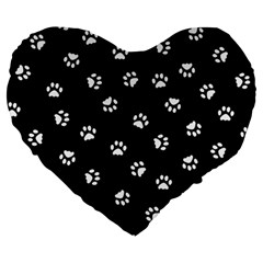 Footprints Cat White Black Large 19  Premium Flano Heart Shape Cushions by EDDArt