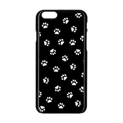 Footprints Cat White Black Apple Iphone 6/6s Black Enamel Case by EDDArt