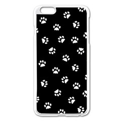 Footprints Cat White Black Apple Iphone 6 Plus/6s Plus Enamel White Case by EDDArt
