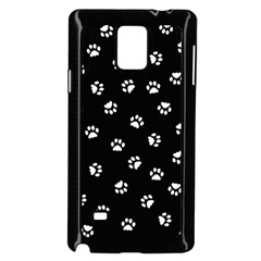 Footprints Cat White Black Samsung Galaxy Note 4 Case (black) by EDDArt