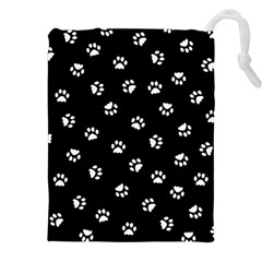Footprints Cat White Black Drawstring Pouches (xxl) by EDDArt