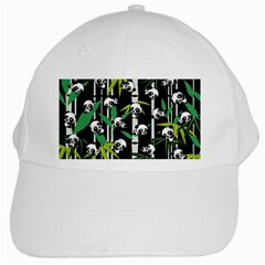 Satisfied And Happy Panda Babies On Bamboo White Cap by EDDArt