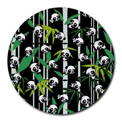 Satisfied And Happy Panda Babies On Bamboo Round Mousepads by EDDArt