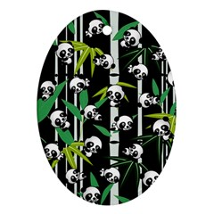 Satisfied And Happy Panda Babies On Bamboo Ornament (oval) by EDDArt
