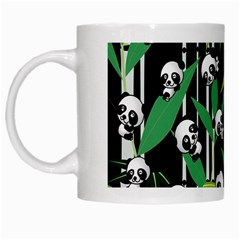 Satisfied And Happy Panda Babies On Bamboo White Mugs by EDDArt