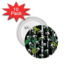 Satisfied And Happy Panda Babies On Bamboo 1 75  Buttons (10 Pack) by EDDArt