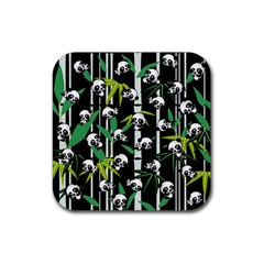 Satisfied And Happy Panda Babies On Bamboo Rubber Coaster (square)  by EDDArt