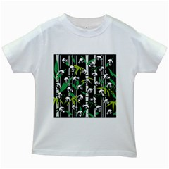 Satisfied And Happy Panda Babies On Bamboo Kids White T Shirts by EDDArt