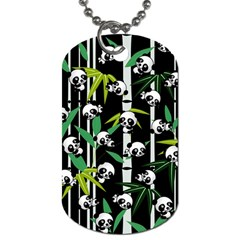 Satisfied And Happy Panda Babies On Bamboo Dog Tag (one Side) by EDDArt