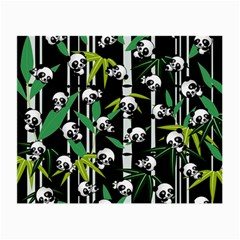 Satisfied And Happy Panda Babies On Bamboo Small Glasses Cloth by EDDArt