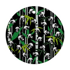 Satisfied And Happy Panda Babies On Bamboo Round Ornament (two Sides) by EDDArt