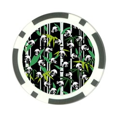 Satisfied And Happy Panda Babies On Bamboo Poker Chip Card Guard by EDDArt